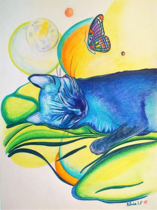 Aline Lamiable Ferraton Chat bleu aquarelle (30x40cm) 2016