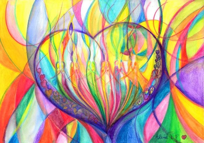 Aline Lamiable Ferraton Coeur pour la paix n°5 crayon aquarellable (21x29.7cm) 2015