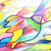 Aline Lamiable Ferraton Colombe pour la paix n°2 crayon aquarellable (21x29.7cm) 2015