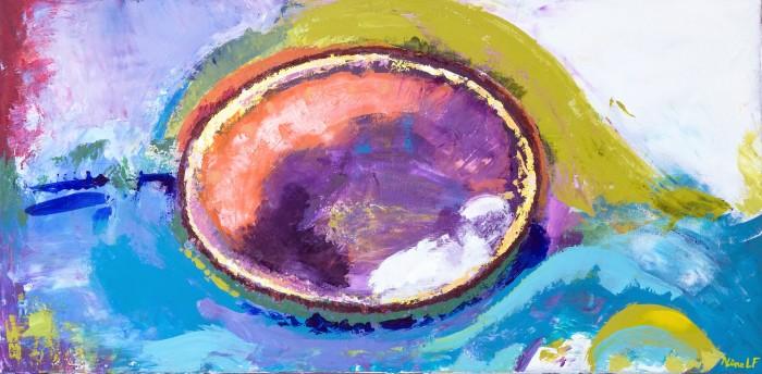 Aline Lamiable Ferraton Enigme huile et acrylique sur toile au couteau (50x100cm) 2010