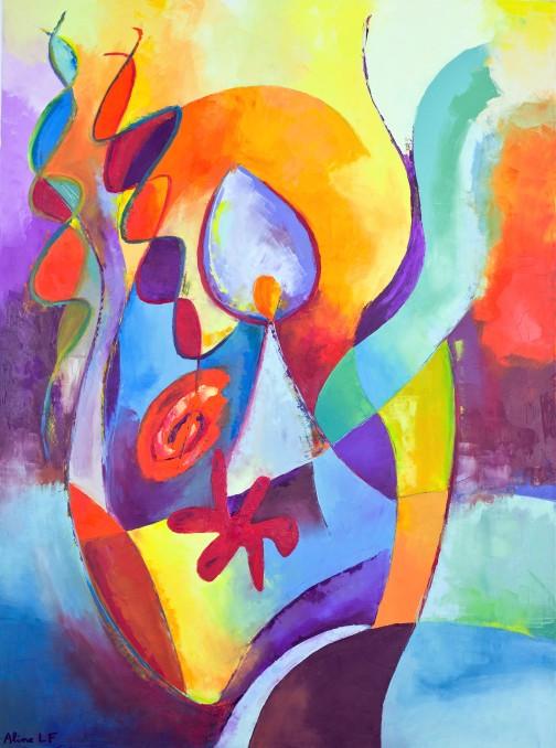 Aline Lamiable Ferraton Equilibre huile sur toile au couteau (81 x 60 cm) 2013