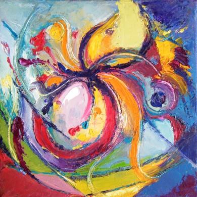 Aline Lamiable Ferraton Fleur huile sur toile au couteau (20x20cm) 2014