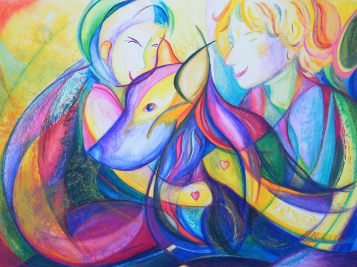 Aline Lamiable Ferraton Jeunes garçons et chiens crayon aquarellable et pastel (30x40 cm) 2015