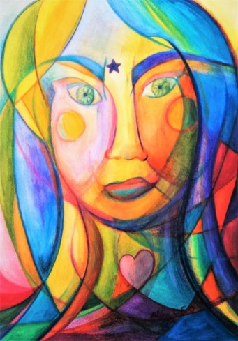 Aline Lamiable Ferraton La femme multicolore aquarelle (21x29.7 cm) 2015