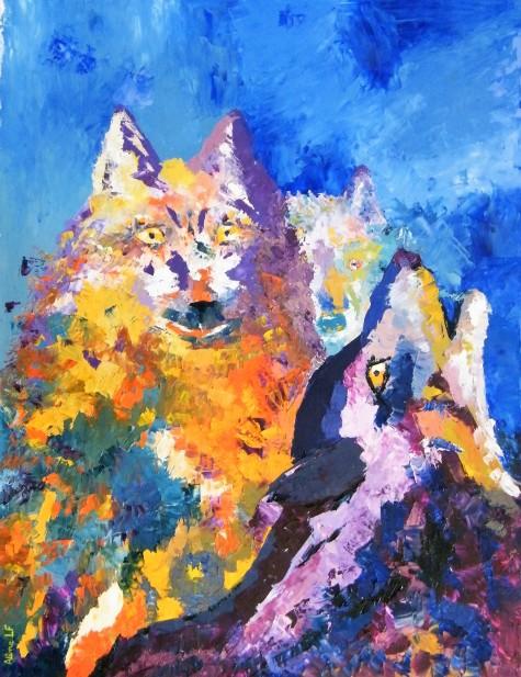 Aline Lamiable Ferraton Loups huile sur papier au couteau (65x50cm) 2013