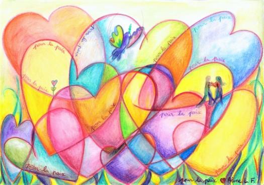 Aline Lamiable Ferraton Multitude de coeurs pour la paix n°3 crayon aquarellable (21x29.7cm) 2015