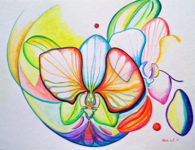 Aline Lamiable Ferraton Orchidées Aquarelle (30x40cm) 2016