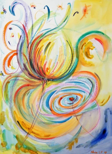 Aline Lamiable Ferraton Plume de paon pastel aquarellable et pastel gras(30x40cm) 2014