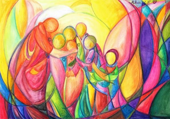 Aline Lamiable Ferraton Sur le chemin de la paix aquarelle pour la paix n°9 (21x29.7cm) 2015