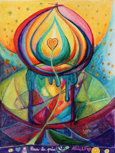 Aline Lamiable Ferraton Une bougie pour la paix Aquarelle et pastel sec (30 x40cm) 2016