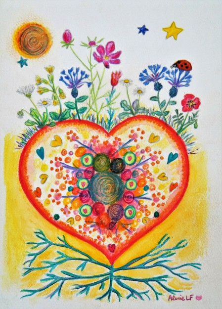 Aline Lamiable Ferraron Coeur Fleurs Aquarelle crayon aquarellable (18x25cm) 2016