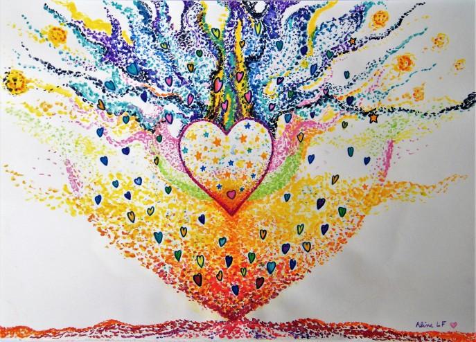 Aline Lamiable Ferraton Aquarelle crayon aquarellable Coeur scintillant (29.5x41cm) 2017