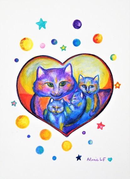 Aline Lamiable Ferraton Coeur chats bleus Aquarelle crayon aquarellable et pastel sec (18x25cm) 2016