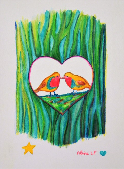 Aline Lamiable Ferraton Coeur oiseaux rouges-gorges Aquarelle crayon aquarellable (18x25cm) 2016