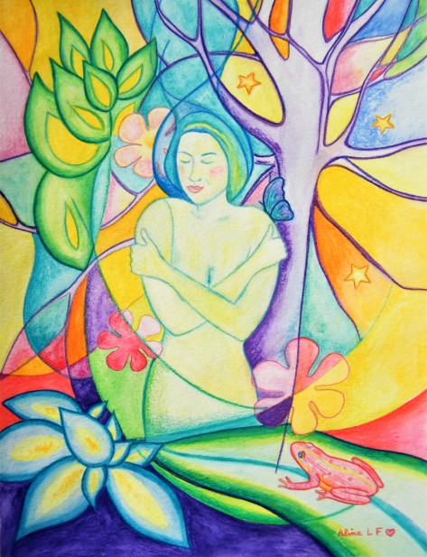 Aline Lamiable Ferraton Source n°2 Aquarelle crayon aquarellable(30x40cm) 2017
