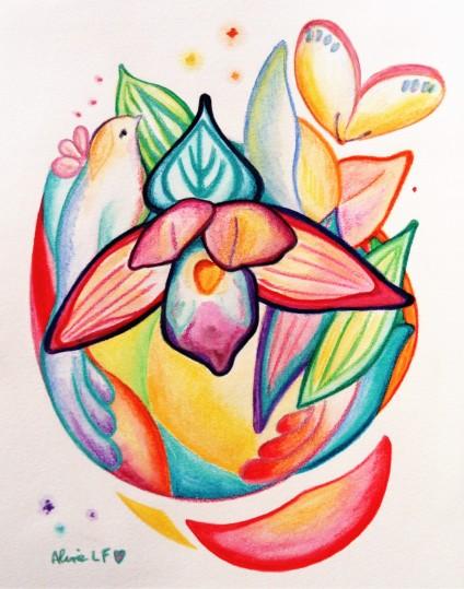 Aline Lamiable Ferraton Orchidées 4 Aquarelle crayons aquarellables (18x24cm) 2018
