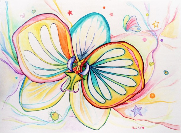 Aline Lamiable Ferraton Orchidées 5 Aquarelle crayons aquarellables (36x48cm) 2018