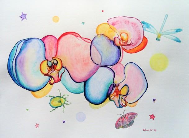 Aline Lamiable Ferraton Orchidées scarabée et libellule 6 Aquarelle crayons aquarellables (36x48cm) 2018