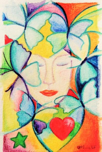 Aline Lamiable FerratonFemme coeur papillons Aquarelle crayons aquarellables (10x15cm) 2017