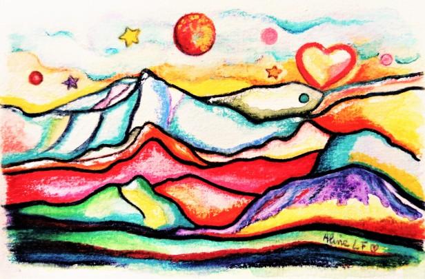 Aline Lamiable FerratonFemme Montagnes coeur Aquarelle crayons aquarellables (10x15cm) 2017
