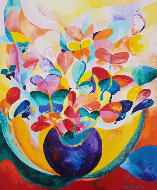 Aline Lamiable Ferraton Papillons et fleurs huile sur toile au couteau (64x54 cm) 2019 (2)